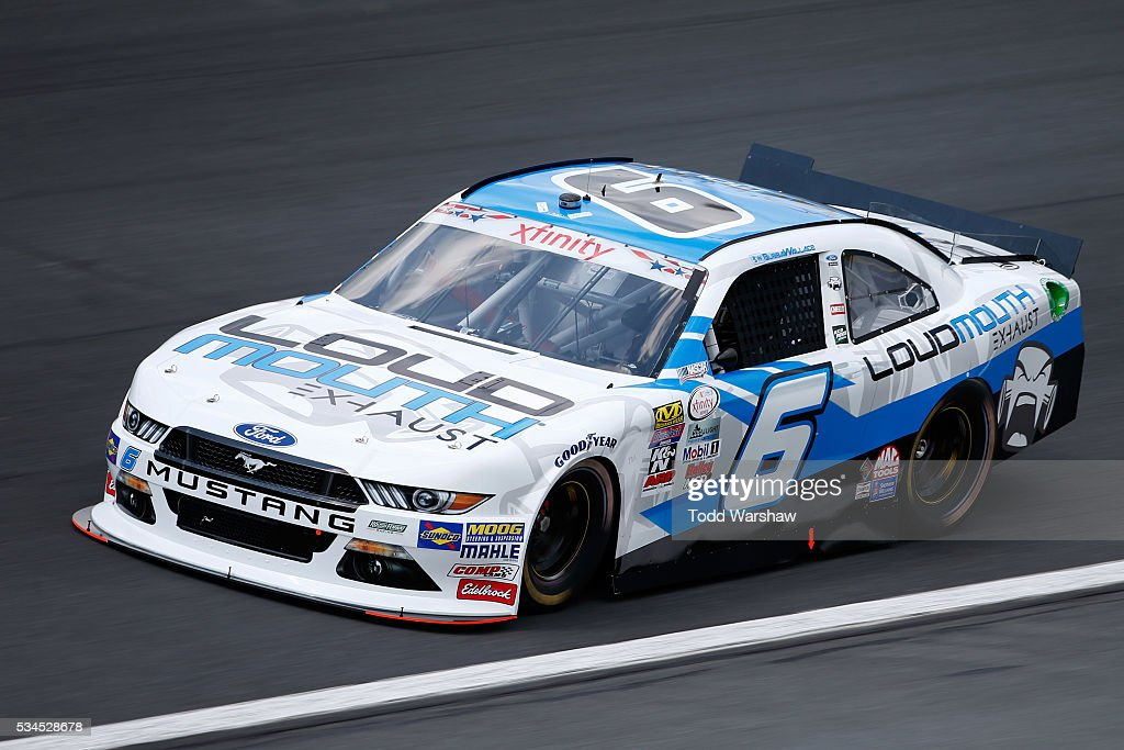 <a gi-track='captionPersonalityLinkClicked' href=/galleries/search?phrase=Darrell+Wallace+Jr.&family=editorial&specificpeople=7123625 ng-click='$event.stopPropagation()'>Darrell Wallace Jr.</a>, driver of the #6 LoudMouth Exhaust Ford, drives during practice for the NASCAR XFINITY Series Hisense 4K TV 300 at Charlotte Motor Speedway on May 27, 2016 in Charlotte, North Carolina.