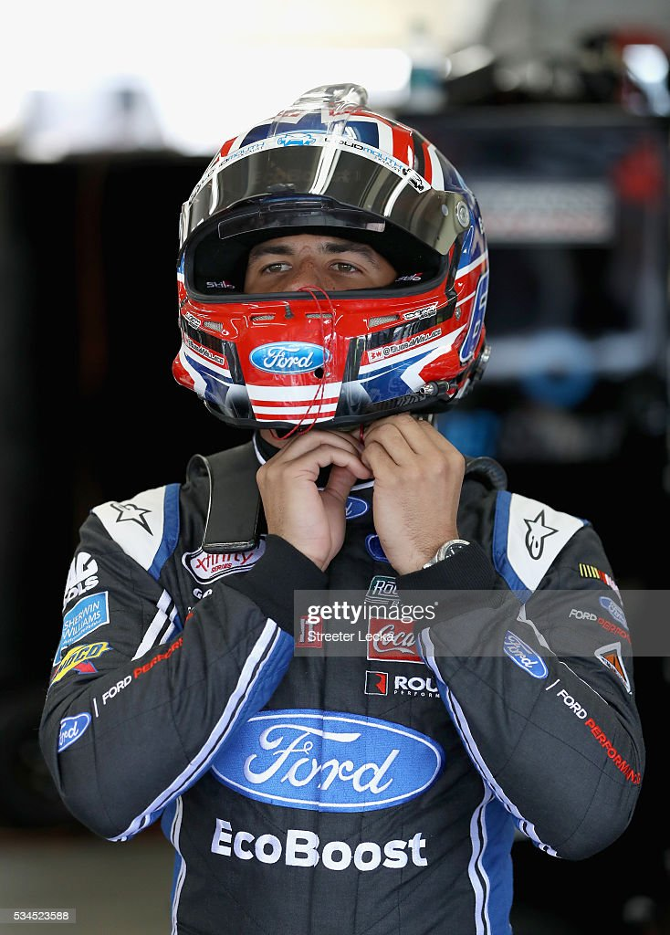 <a gi-track='captionPersonalityLinkClicked' href=/galleries/search?phrase=Darrell+Wallace+Jr.&family=editorial&specificpeople=7123625 ng-click='$event.stopPropagation()'>Darrell Wallace Jr.</a>, driver of the #6 LoudMouth Exhaust Ford, looks on during practice for the NASCAR XFINITY Series Hisense 4K TV 300 at Charlotte Motor Speedway on May 27, 2016 in Charlotte, North Carolina.