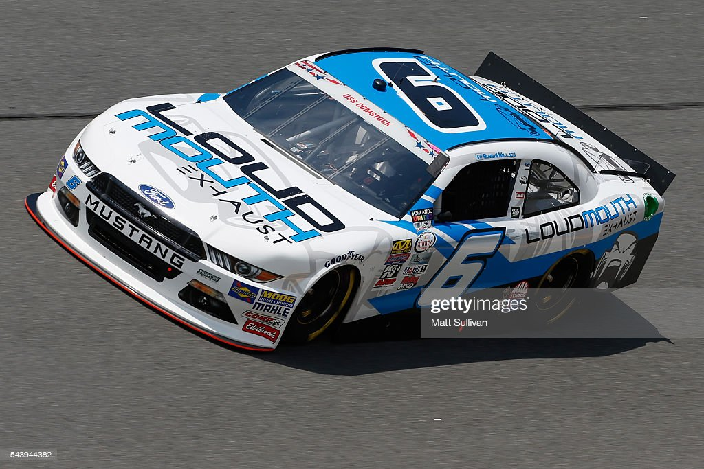 <a gi-track='captionPersonalityLinkClicked' href=/galleries/search?phrase=Darrell+Wallace+Jr.&family=editorial&specificpeople=7123625 ng-click='$event.stopPropagation()'>Darrell Wallace Jr.</a>, driver of the #6 LoudMouth Exhaust Ford, practices for the NASCAR XFINITY Series Subway Firecracker 250 at Daytona International Speedway on June 30, 2016 in Daytona Beach, Florida.