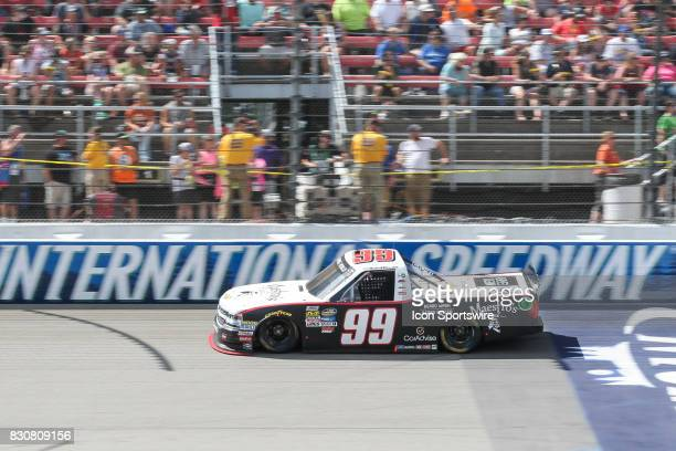 Darrell Wallace Jr driver of the Maestro's Classic Chevrolet races during the Camping World Truck Series LTi Printing 200 race on August 12 2017 at...