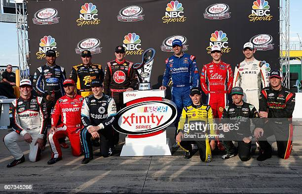 Darrell Wallace Jr driver of the TMNT Shredder Ford Brendan Gaughan driver of the American Ethanol/Thorntons Chevrolet Ty Dillon driver of the Rheem...