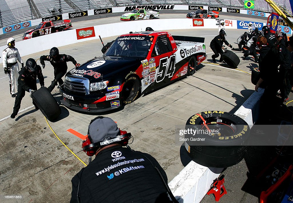 Darrell Wallace Jr., driver of the #54 Toyota Care Toyota, pits during the NASCAR Camping World Truck Series Kroger 250 on April 6, 2013 at Martinsville Speedway in Ridgeway, Virginia.