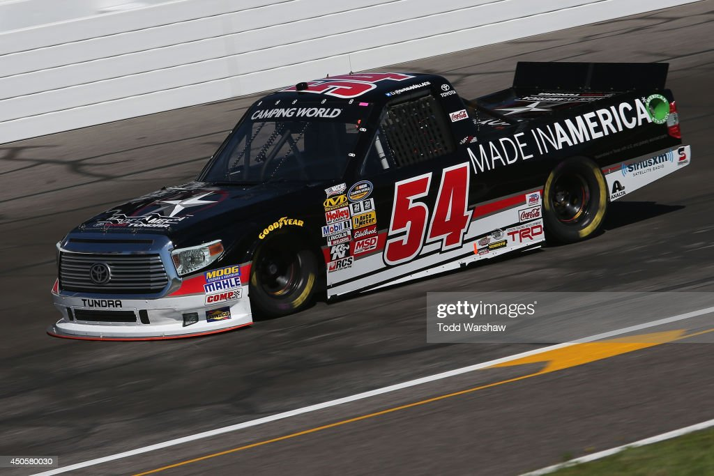 <a gi-track='captionPersonalityLinkClicked' href=/galleries/search?phrase=Darrell+Wallace+Jr.&family=editorial&specificpeople=7123625 ng-click='$event.stopPropagation()'>Darrell Wallace Jr.</a> drives the #54 Toyota Toyota during practice for the NASCAR Camping World Truck Series Drivin' For Lineman 200 at Gateway Motorsports Park on June 13, 2014 in Madison, Illinois.