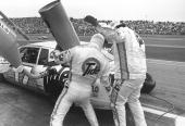 Darrell Waltrip pits for fuel at the Coca Cola 600 in Charlotte North Carolina on May 28 1989 Darrell Waltrip took his sixth Lowe's win to tie Bobby...