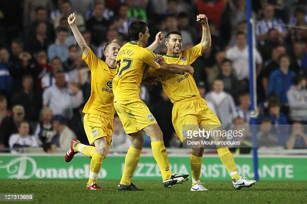 Darren Ambrose of Crystal Palace celebrates scoring his teams second goal of the game during the npower Championship match between Brighton and Hove...
