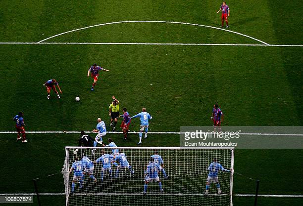 Darren Ambrose of Crystal Palace shoots and scores from a in direct free kick during the npower Championship match between Crystal Palace and...