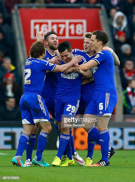 Darren Ambrose of Ipswich celebrates with teammates after scoring the opening goal during the FA Cup Third Round match between Southampton and...
