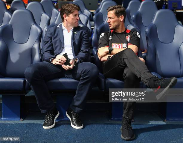 Darren Anderson ex Tottenham Hotspur and AFC Bournemouth player speaks to Jason Tindall AFC Bournemouth assistant manager prior to the Premier League...