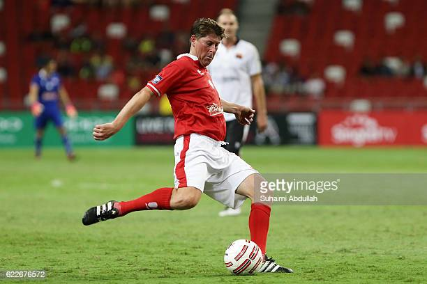 Darren Anderton of England in action during the Battle of Europe match between England Masters and Germany Masters at Singapore Stadium on November...