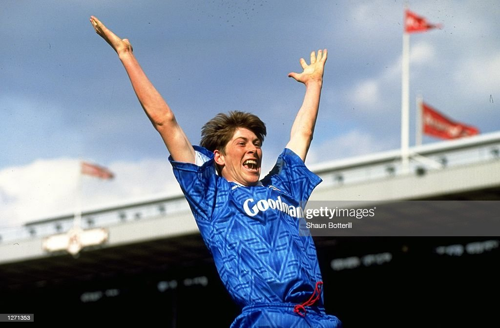 Darren Anderton of Portsmouth celebrates after scoring during the FA Cup match against Liverpool at Villa Park England The match ended in a 11 draw...