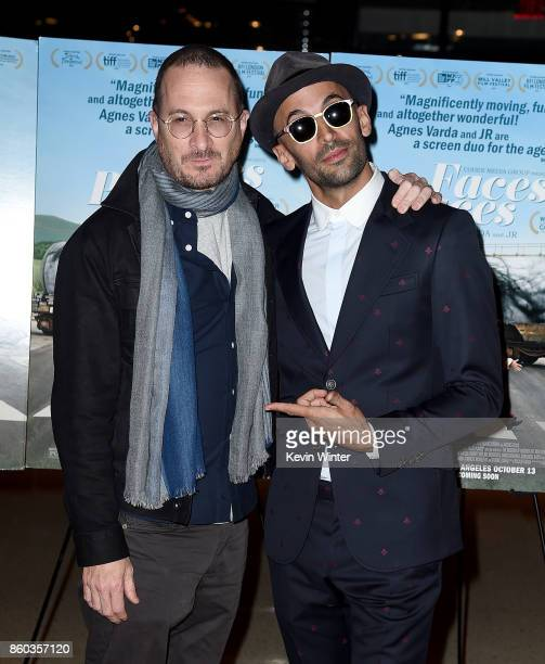 Darren Aronofsky and JR attend the premiere of Cohen Media Group's 'Faces Places' at Pacific Design Center on October 11 2017 in West Hollywood...