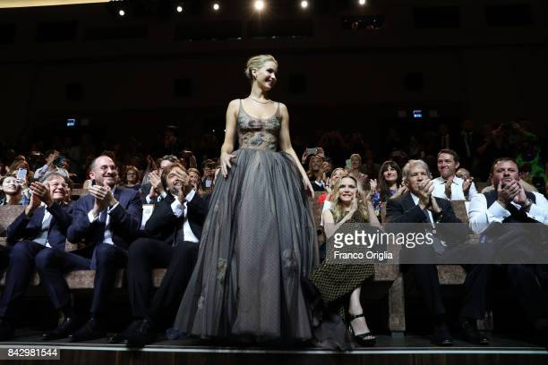 Darren Aronofsky Javier Bardem Jennifer Lawrence Michelle Pfeiffer and David E Kelley attend the world premiere of 'mother during the 74th Venice...