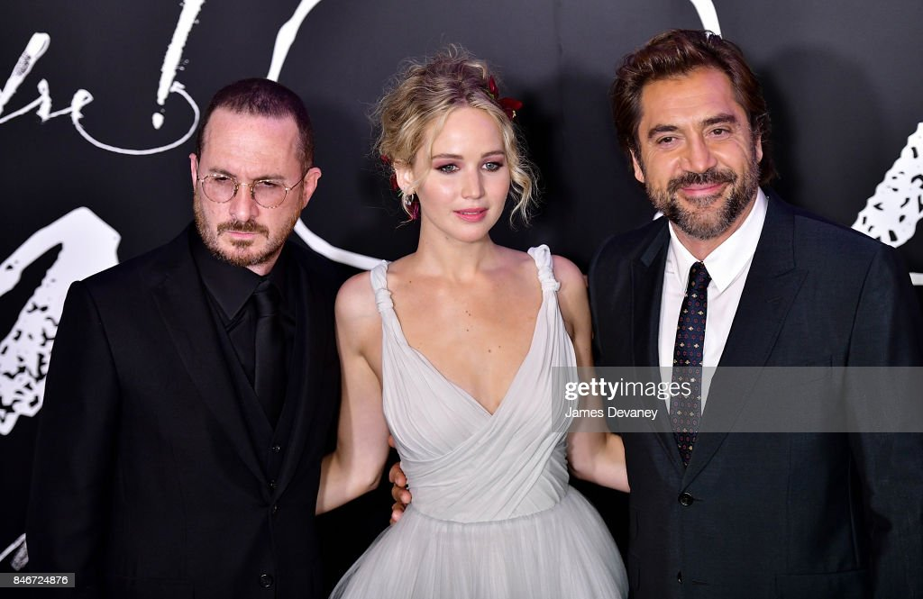 Darren Aronofsky, Jennifer Lawrence and Javier Bardem attend 'mother!' New York premiere at Radio City Music Hall on September 13, 2017 in New York City.