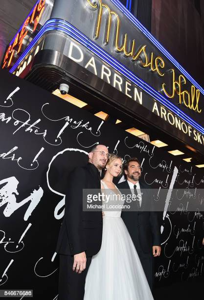 Darren Aronofsky Jennifer Lawrence and Javier Bardem attend the New York premiere of 'mother' at Radio City Music Hall on September 13 2017 in New...