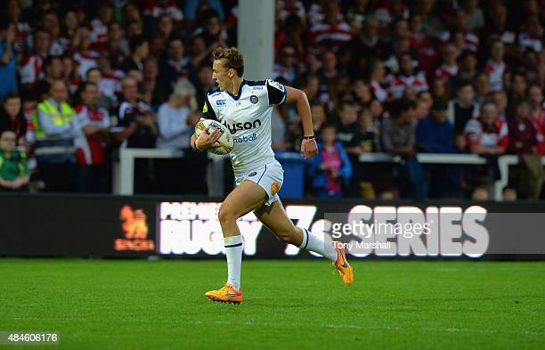 Darren Atkins of Bath Rugby runs in to score a try during the Singha Premiership Rugby 7s Series Gloucester at Kingsholm Stadium on August 20 2015 in...