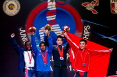 Darren Barnes of US Colombian Mendoza Xiameng Wei of China and Muammer Sahin during podium of the Men's 56kg during day one of the 2013 Junior...