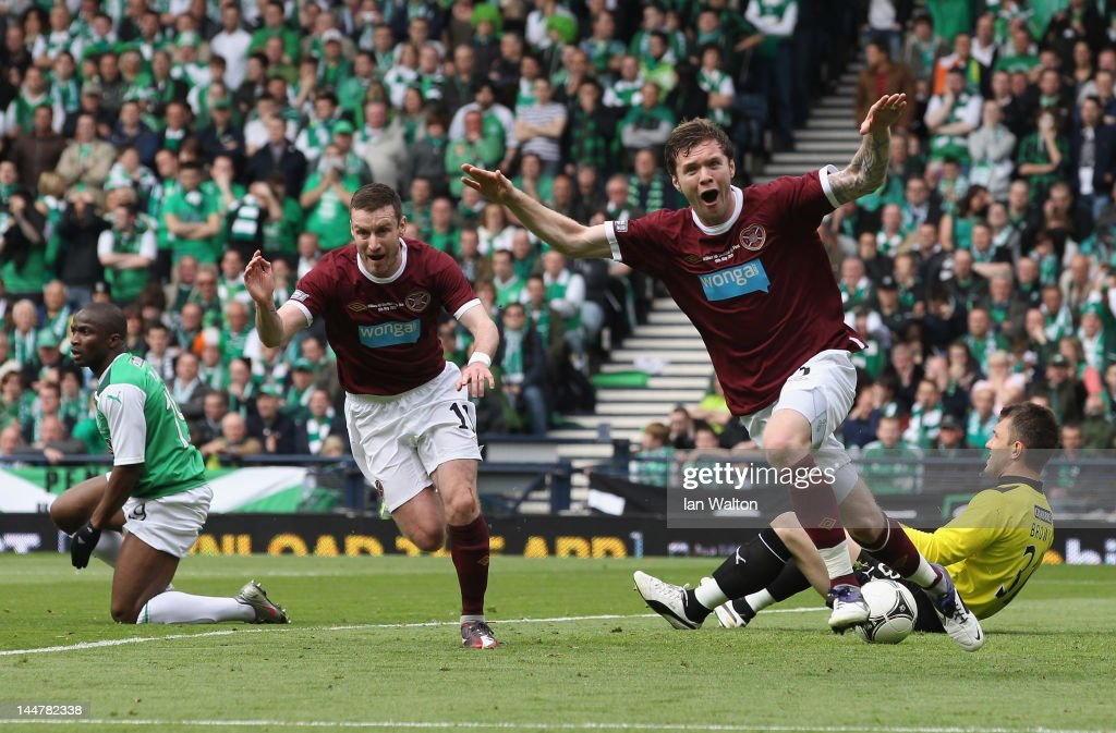 Darren Barr of Hearts celebrates scoring a goal during the William Hill Scottish Cup Final between Hibernian and Hearts at Hampden Park on May 19, 2012 in Glasgow, Scotland.