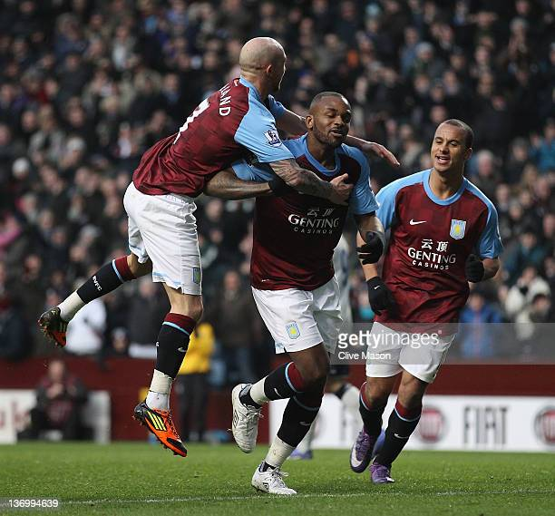 Darren Bent of Aston Villa celebrates his goal during the Barclays Premier League match between Aston Villa and Everton at Villa Park on January 14...