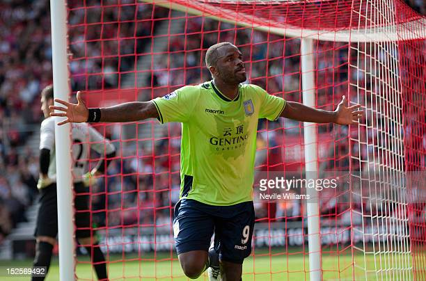 Darren Bent of Aston Villa celebrates his goal during the Barclays Premier League match between Southampton and Aston Villa at St Mary's Stadium on...