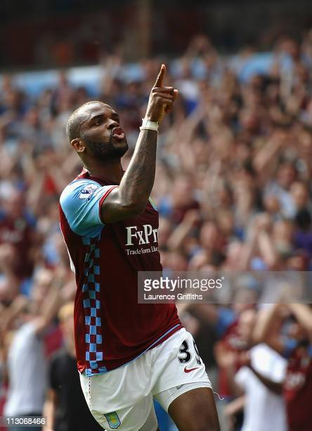 Darren Bent of Aston Villa celebrates scoring the equaliser during the Barclays Premier League match between Aston Villa and Stoke City at Villa Park...