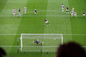 Darren Bent of Aston Villa scores from the penalty spot during the Barclays Premier Leaguematch between Aston Villa and West Bromwich Albion at Villa...