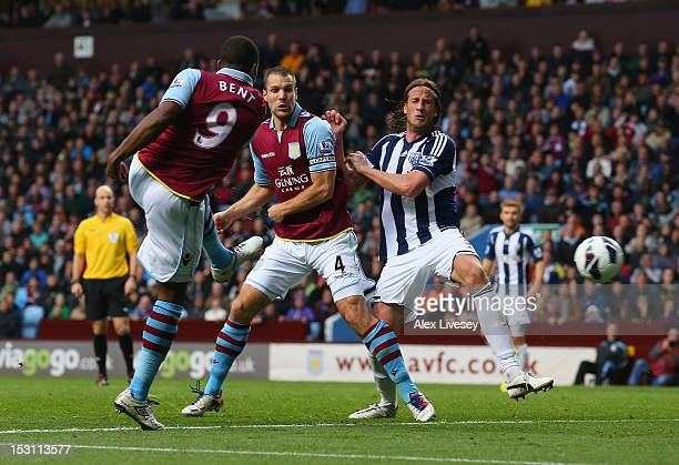 Darren Bent of Aston Villa scores the equalizing goal during the Barclays Premier League match between Aston Villa and West Bromwich Albion at Villa...