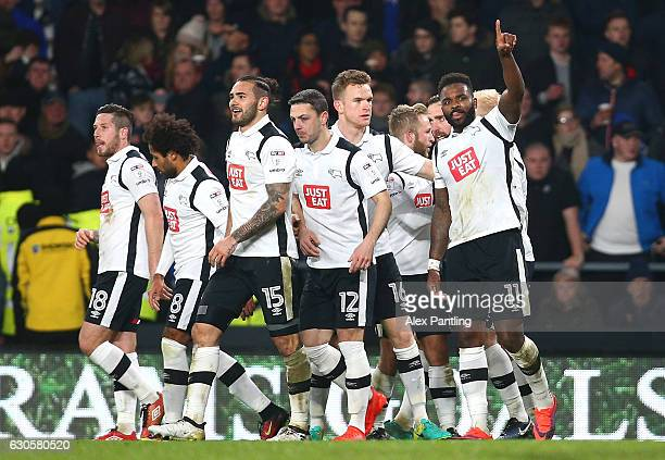 Darren Bent of Derby County celebrates after he scores his sides first goal from the penalty spot during the Sky Bet Championship match between Derby...