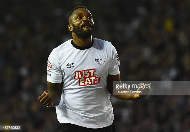Darren Bent of Derby County celebrates as he scores their third goal during the Sky Bet Championship match between Derby County and Blackpool at iPro...
