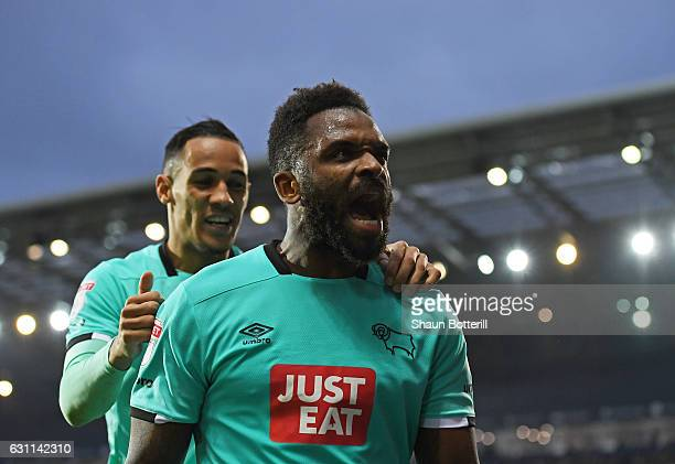Darren Bent of Derby County celebrates scoring his sides first goal during the Emirates FA Cup Third Round match between West Bromwich Albion and...