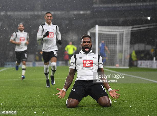 Darren Bent of Derby County celebrates scoring the equalising goal during the Emirates FA Cup Fourth Round match between Derby County and Leicester...
