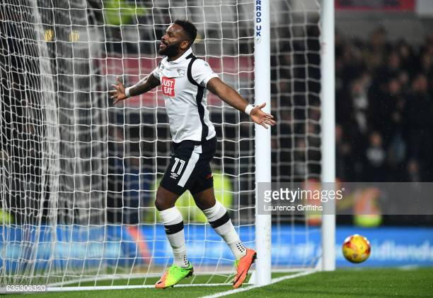 Darren Bent of Derby County celebrates scoring the second goal during the Sky Bet Championship match between Derby County and Cardiff City at iPro...