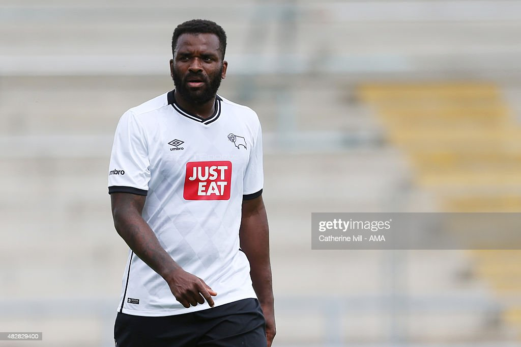 Darren Bent of Derby County during the pre-season friendly between Northampton Town and Derby County at Sixfields on July 18, 2015 in Northampton, England.