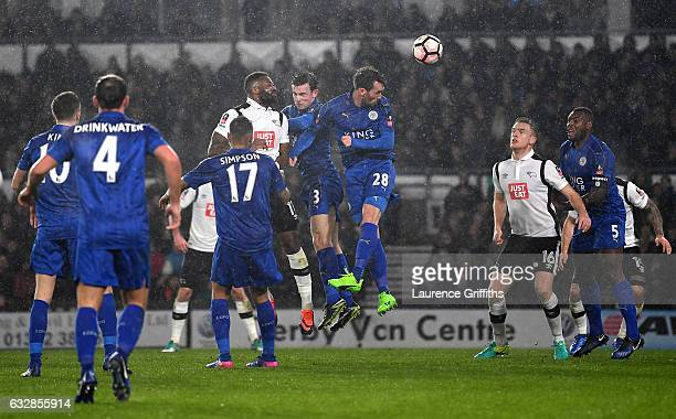 Darren Bent of Derby County scores his sides first goal during The Emirates FA Cup Fourth Round match between Derby County and Leicester City at iPro...