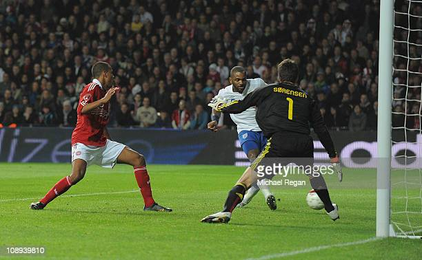 Darren Bent of England scores to make it 11 during the international friendly match between Denmark and England at Parken Stadium on February 9 2011...