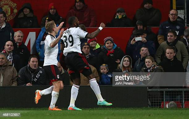 Darren Bent of Fulham celebrates scoring their second goal during the Barclays Premier League match between Manchester United and Fulham at Old...