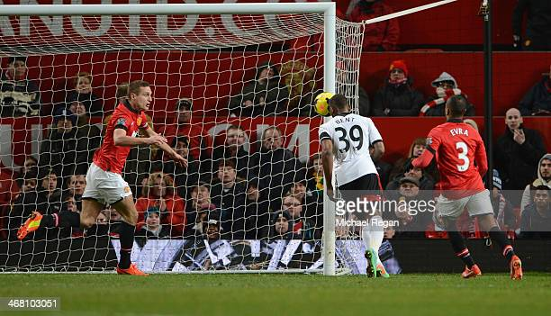 Darren Bent of Fulham scores his team's second goal during the Barclays Premier League match between Manchester United and Fulham at Old Trafford on...
