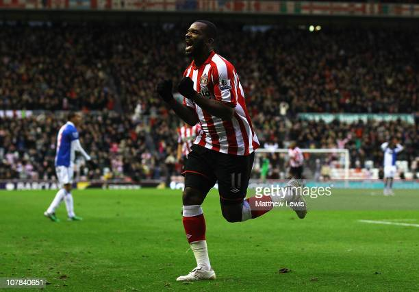 Darren Bent of Sunderland celebrates his goal during the Barclays Premier League match between Sunderland and Blackburn Rovers at the Stadium of...