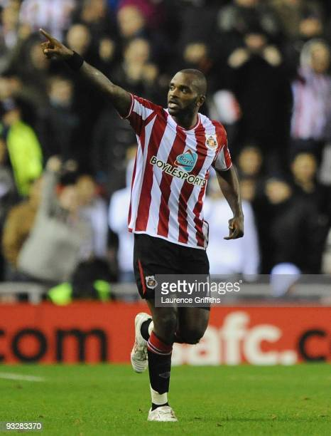 Darren Bent of Sunderland celebrates his goal during the Barclays Premier League match between Suderland and Arsenal at The Stadium of Light on...