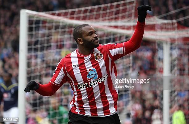 Darren Bent of Sunderland celebrates scoring a goal during the Barclays Premier League match between Sunderland and Tottenham Hotspur at Stadium of...