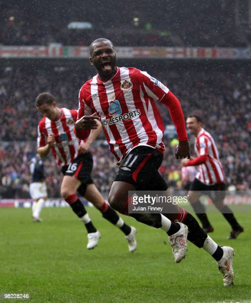 Darren Bent of Sunderland celebrates scoring his second goal from the penalty spot during the Barclays Premier League match between Sunderland and...