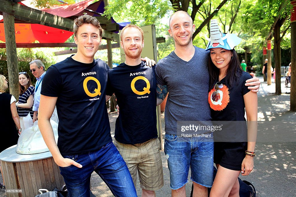 Darren Bluestone, Michael Liscio Jr., Rob Morrison and Kate Lippstreu of Avenue Q visits at Bronx Zoo on July 12, 2012 in New York City.