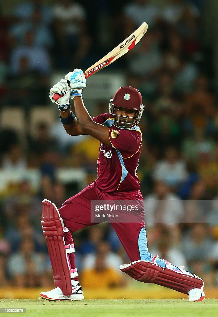 Darren Bravo of the West Indies bats during the Commonwealth Bank One Day International Series between Australia and the West Indies at Manuka Oval on February 6, 2013 in Canberra, Australia.