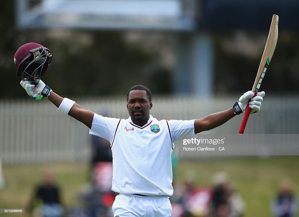 Darren Bravo of the West Indies celebrates after reaching his century during day three of the First Test match between Australia and the West Indies at Blundstone Arena on December 12, 2015 in Hobart, Australia.