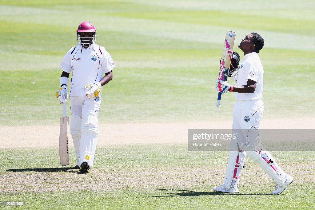 <a gi-track='captionPersonalityLinkClicked' href=/galleries/search?phrase=Darren+Bravo&family=editorial&specificpeople=4884685 ng-click='$event.stopPropagation()'>Darren Bravo</a> of the West Indies celebrates scoring a century during day four of the first test match between New Zealand and the West Indies at University Oval on December 6, 2013 in Dunedin, New Zealand.