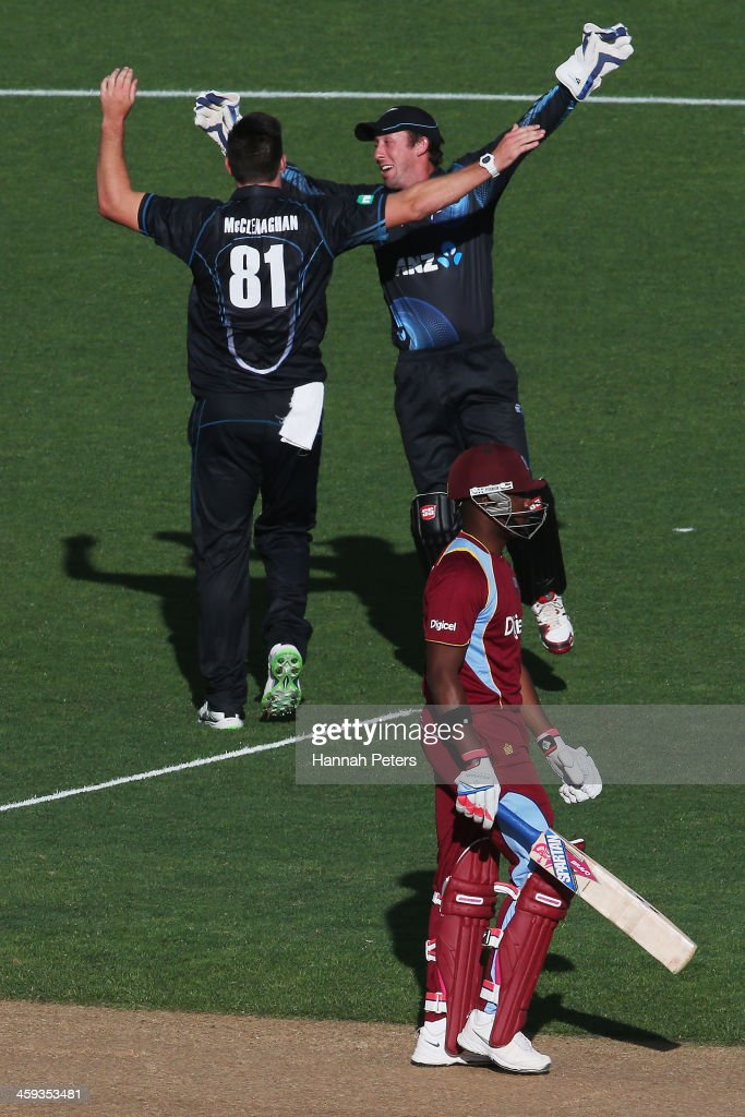 Darren Bravo of the West Indies walks off after being dismissed by Mitchell McClenaghan of New Zealand during the first One Day International match between New Zealand and the West Indies at Eden Park on December 26, 2013 in Auckland, New Zealand.