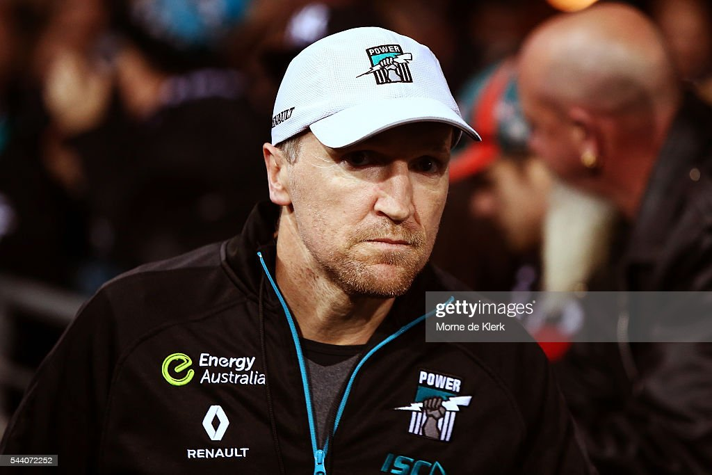 Darren Burgess of the Power looks on during the round 15 AFL match between the Port Adelaide Power and the Richmond Tigers at Adelaide Oval on July 1, 2016 in Adelaide, Australia.