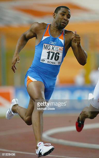 Darren Campbell of Great Britain competes in the Men's 200 metres race during the IAAF Golden Gala at the Stadio Olimpico on July 2 2004 in Rome Italy
