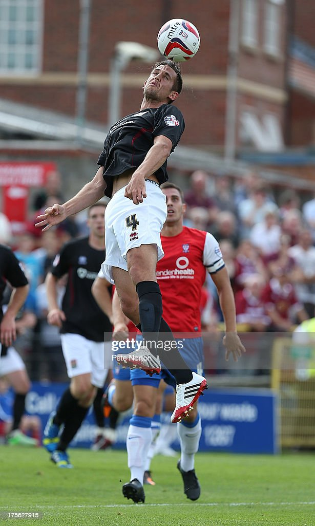 <a gi-track='captionPersonalityLinkClicked' href=/galleries/search?phrase=Darren+Carter+-+Soccer+Player&family=editorial&specificpeople=4520776 ng-click='$event.stopPropagation()'>Darren Carter</a> of Northampton Town rises to head the ball during the Sky Bet League Two match between York City and Northampton Town at Bootham Crescent on August 3, 2013 in York, England.