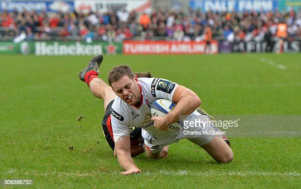 Darren Cave of Ulster scoring a try during the European Champions Cup Pool 1 round 6 game between Ulster and Oyonnax at Kingspan Stadium on January...