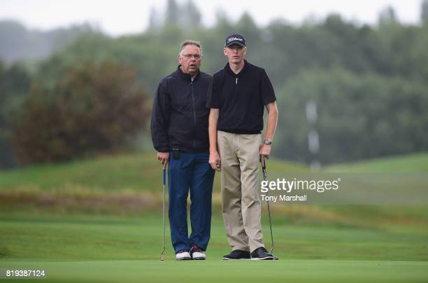 Darren Charlton and Anthony Ambrose of Dunstable Downs Golf Club on the 17th green during the PGA Lombard Trophy East Qualifier at Sandy Lodge Golf...